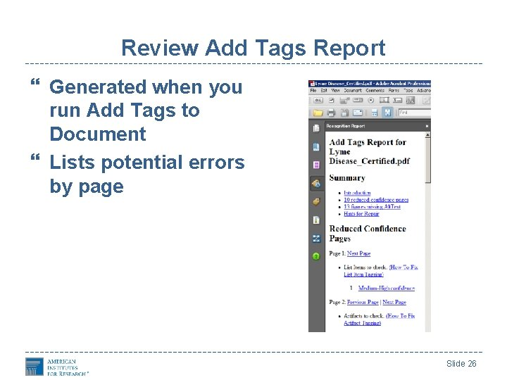 Review Add Tags Report Generated when you run Add Tags to Document Lists potential