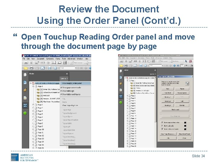 Review the Document Using the Order Panel (Cont'd. ) Open Touchup Reading Order panel