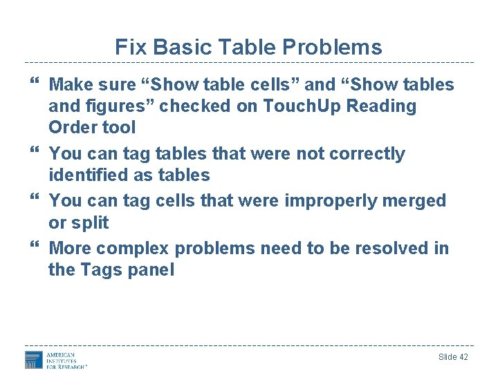 """Fix Basic Table Problems Make sure """"Show table cells"""" and """"Show tables and figures"""""""