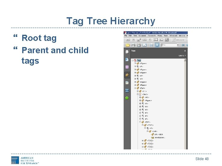 Tag Tree Hierarchy Root tag Parent and child tags Slide 48