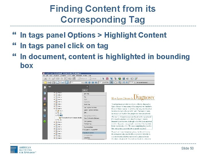 Finding Content from its Corresponding Tag In tags panel Options > Highlight Content In