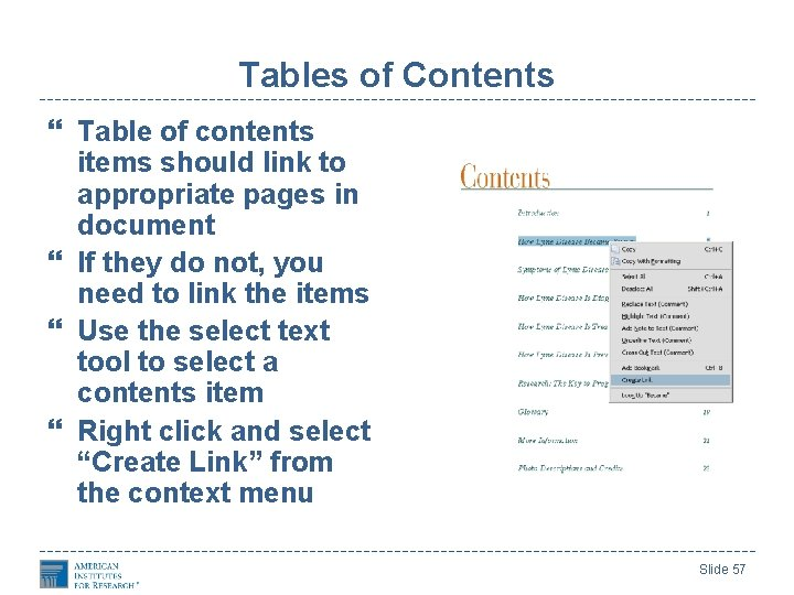 Tables of Contents Table of contents items should link to appropriate pages in document