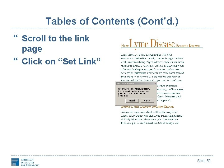 """Tables of Contents (Cont'd. ) Scroll to the link page Click on """"Set Link"""""""