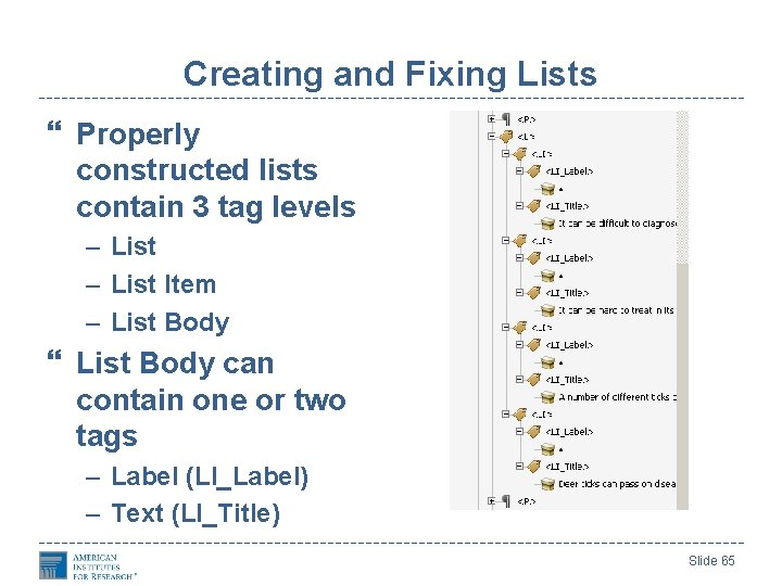 Creating and Fixing Lists Properly constructed lists contain 3 tag levels – List Item