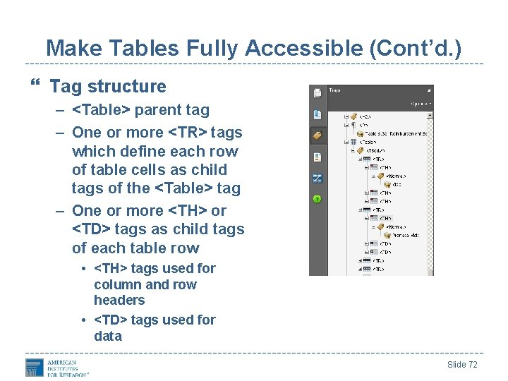 Make Tables Fully Accessible (Cont'd. ) Tag structure – <Table> parent tag – One