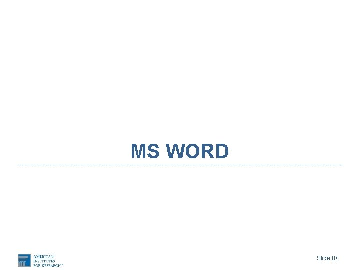 MS WORD Slide 87