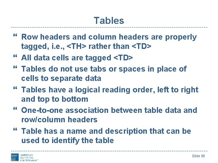 Tables Row headers and column headers are properly tagged, i. e. , <TH> rather