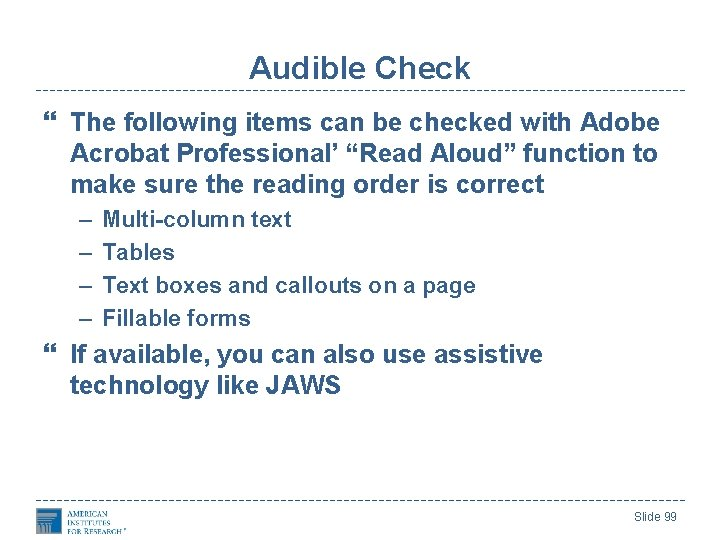 """Audible Check The following items can be checked with Adobe Acrobat Professional' """"Read Aloud"""""""