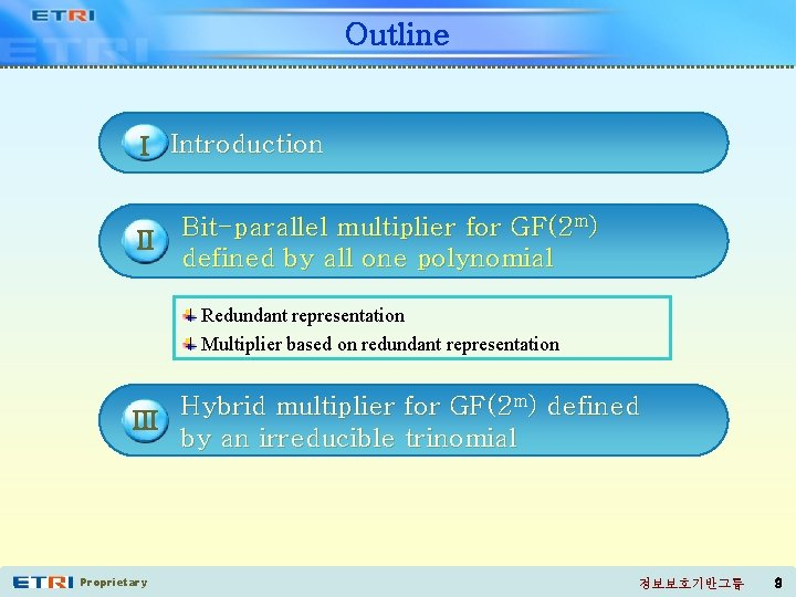 Outline I Introduction II Bit-parallel multiplier for GF(2 m) defined by all one polynomial
