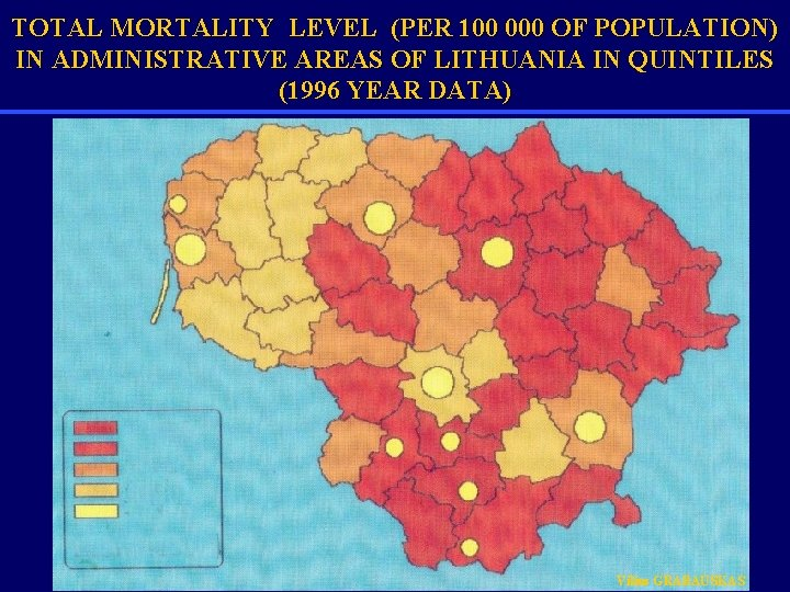 TOTAL MORTALITY LEVEL (PER 100 000 OF POPULATION) IN ADMINISTRATIVE AREAS OF LITHUANIA IN