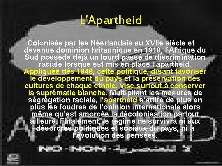 L'Apartheid Colonisée par les Néerlandais au XVIIe siècle et devenue dominion britannique en 1910,