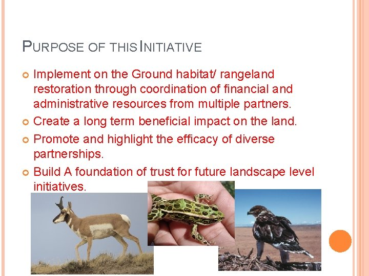 PURPOSE OF THIS INITIATIVE Implement on the Ground habitat/ rangeland restoration through coordination of