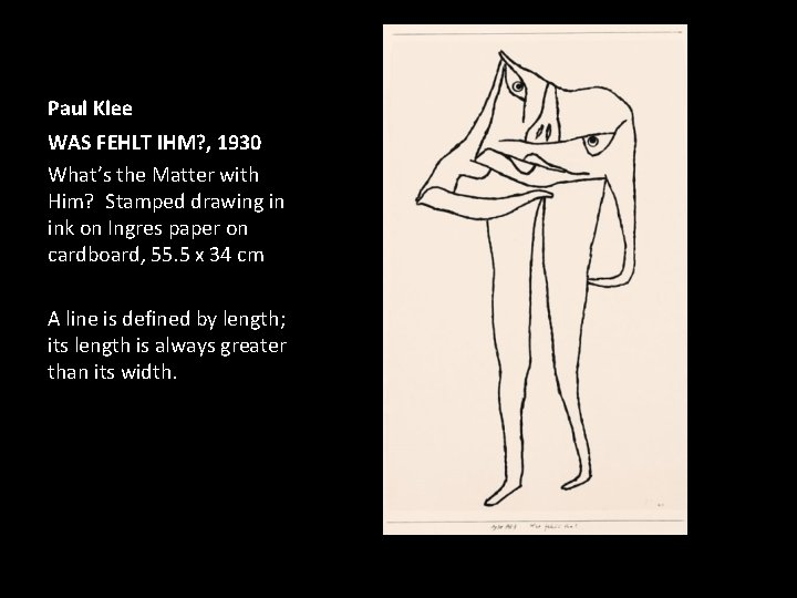 Paul Klee WAS FEHLT IHM? , 1930 What's the Matter with Him? Stamped drawing