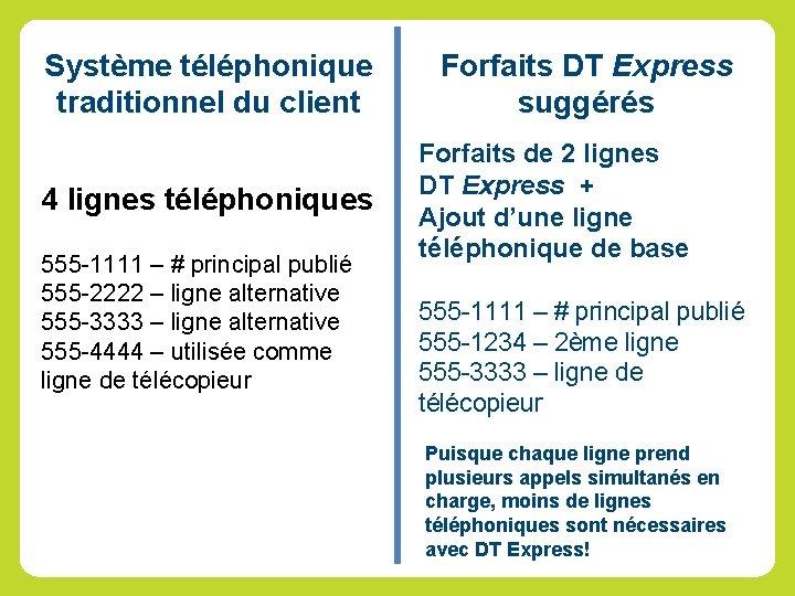 Système téléphonique traditionnel du client Forfaits DT Express suggérés 4 lignes téléphoniques Forfaits de