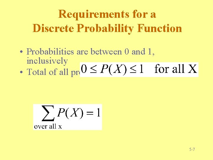 Requirements for a Discrete Probability Function • Probabilities are between 0 and 1, inclusively