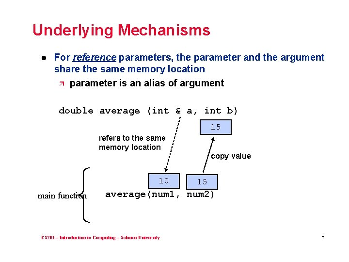 Underlying Mechanisms l For reference parameters, the parameter and the argument share the same