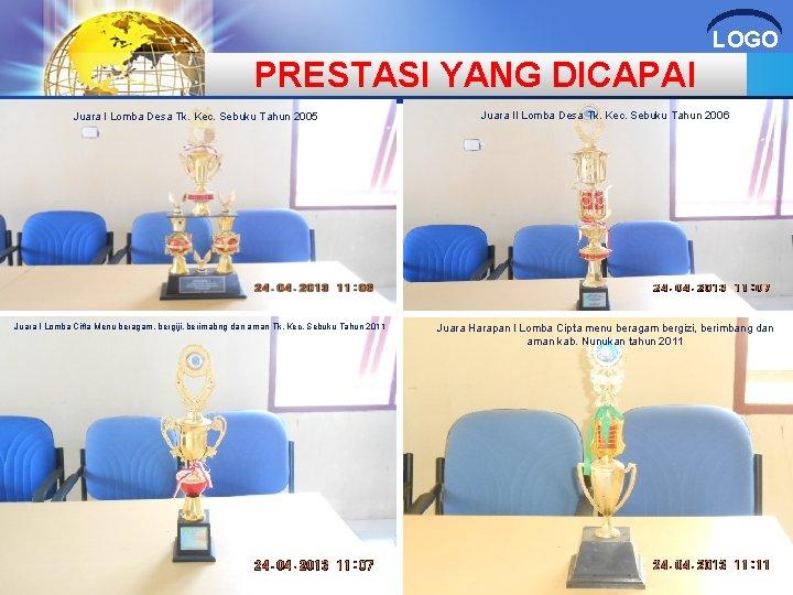 LOGO PRESTASI YANG DICAPAI Juara I Lomba Desa Tk. Kec. Sebuku Tahun 2005 Juara