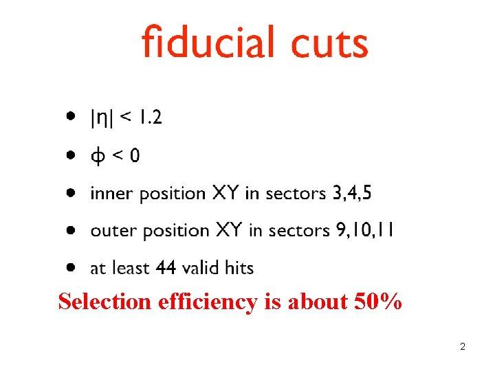 Cuts Applied • |eta| < 1. 2 • phi < 0 • inner position