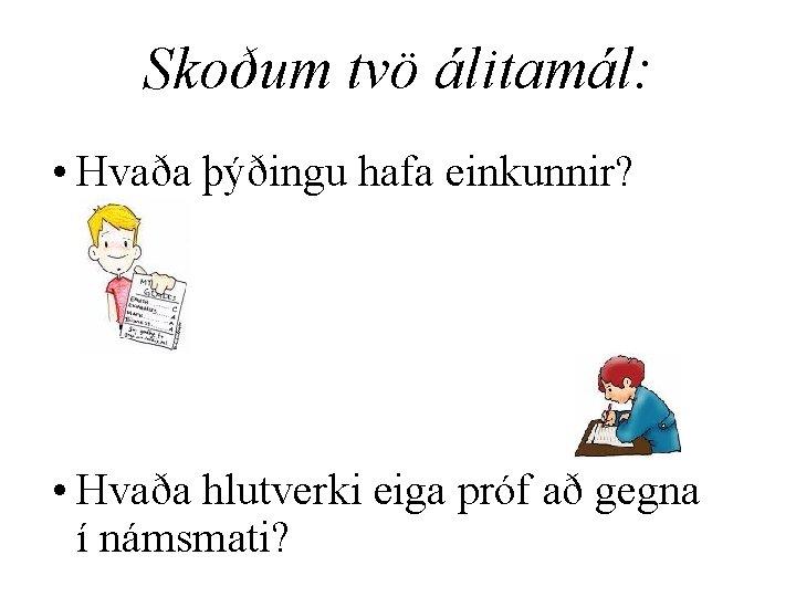 Skoðum tvö álitamál: • Hvaða þýðingu hafa einkunnir? • Hvaða hlutverki eiga próf að