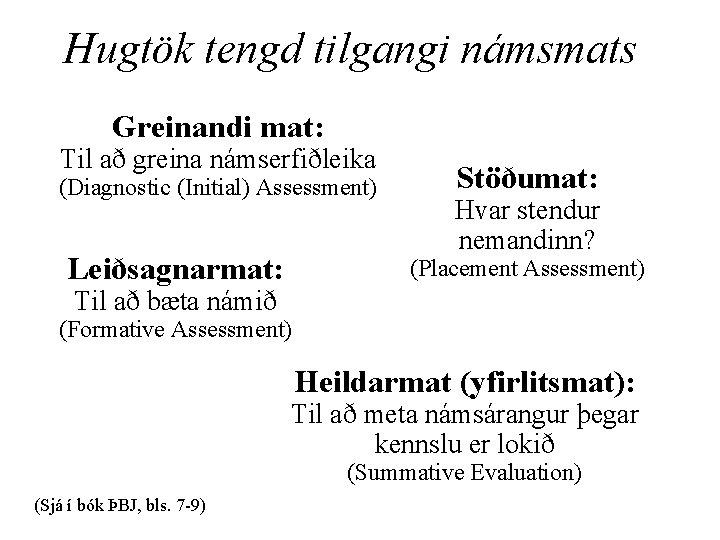 Hugtök tengd tilgangi námsmats Greinandi mat: Til að greina námserfiðleika (Diagnostic (Initial) Assessment) Leiðsagnarmat: