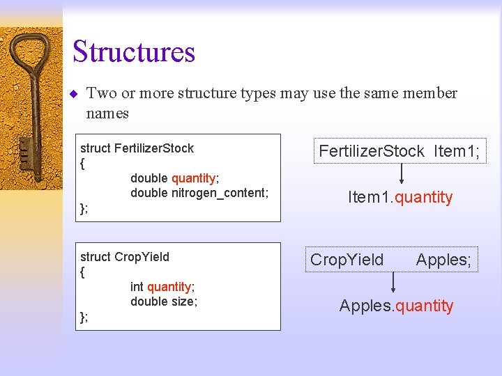 Structures ¨ Two or more structure types may use the same member names struct