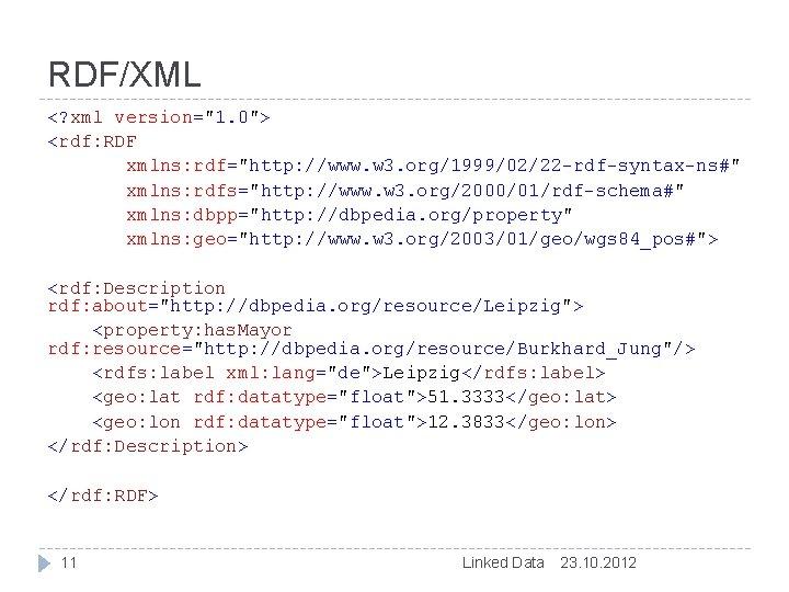 """RDF/XML <? xml version=""""1. 0""""> <rdf: RDF xmlns: rdf=""""http: //www. w 3. org/1999/02/22 -rdf-syntax-ns#"""""""