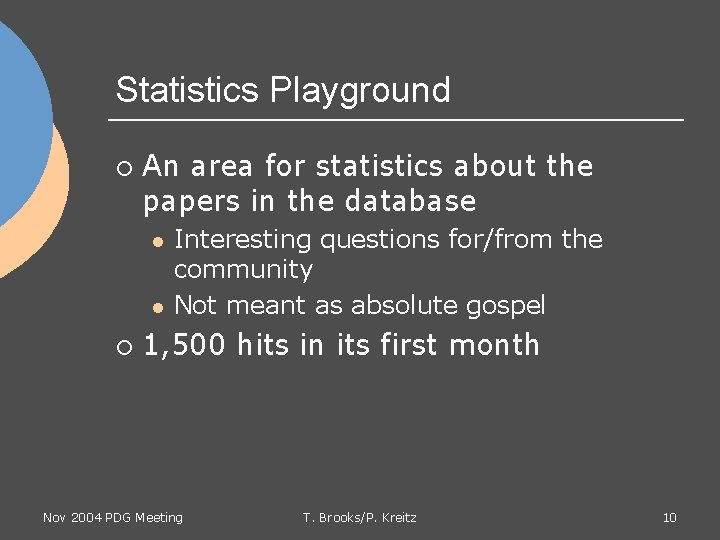 Statistics Playground ¡ An area for statistics about the papers in the database l