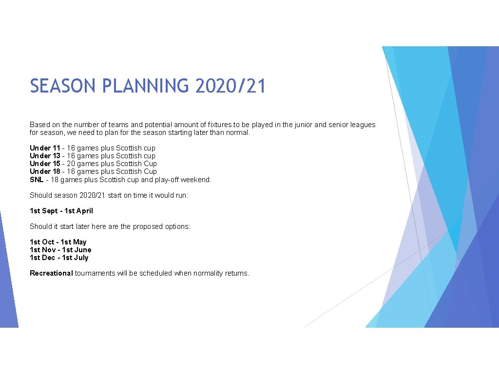 SEASON PLANNING 2020/21 Based on the number of teams and potential amount of fixtures