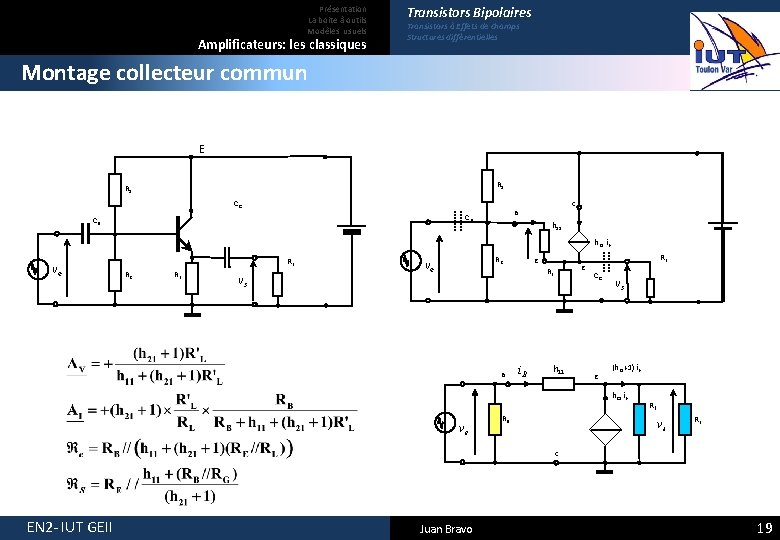 Présentation La boite à outils Modèles usuels Amplificateurs: les classiques Transistors Bipolaires Transistors à