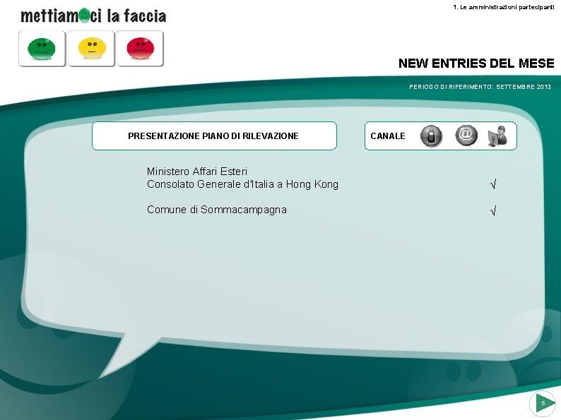 1. Le amministrazioni partecipanti NEW ENTRIES DEL MESE PERIODO DI RIFERIMENTO: SETTEMBRE 2013 PRESENTAZIONE