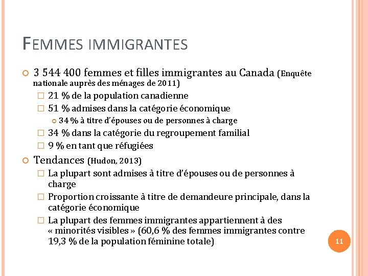 FEMMES IMMIGRANTES 3 544 400 femmes et filles immigrantes au Canada (Enquête nationale auprès