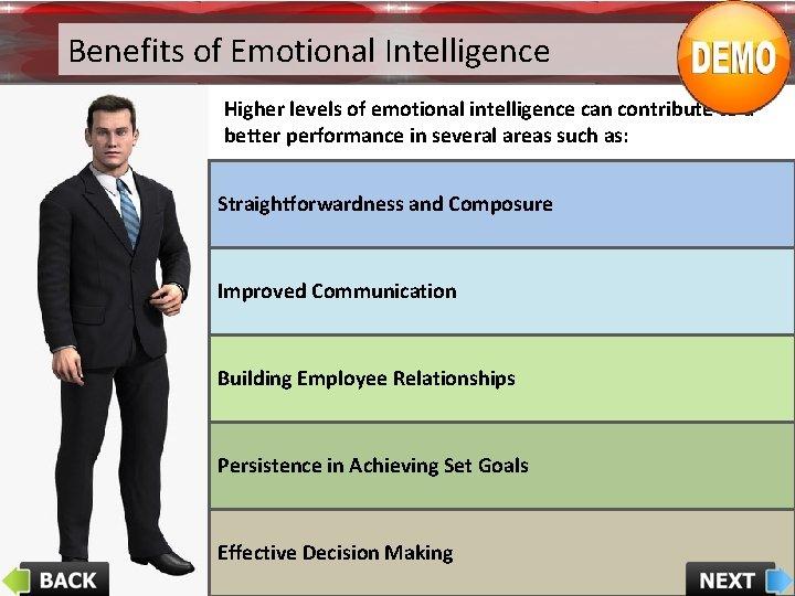 Benefits of Emotional Intelligence Higher levels of emotional intelligence can contribute to a better
