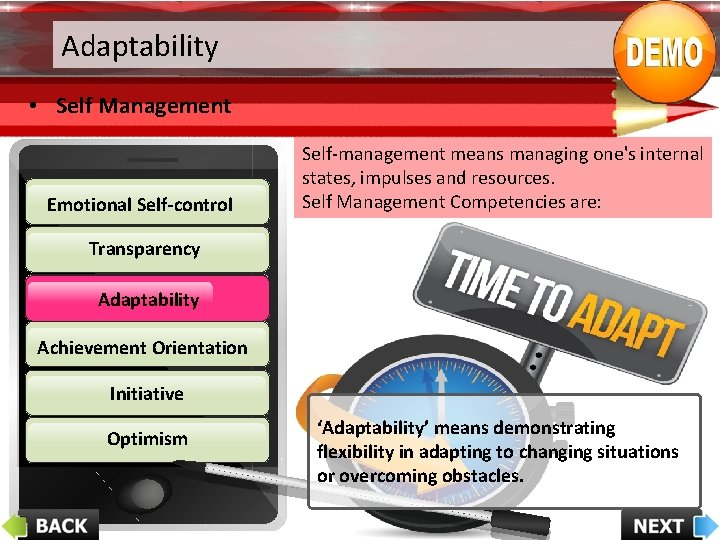 Adaptability • Self Management Emotional Self-control Self-management means managing one's internal states, impulses and