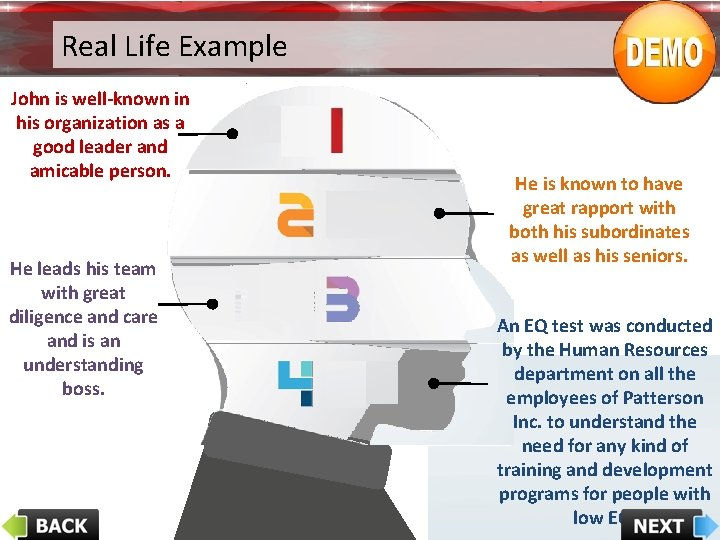 Real Life Example John is well-known in his organization as a good leader and
