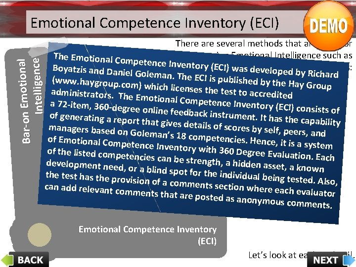 Emotional Competence Inventory (ECI) On - lin e. T es ts of EQ Work