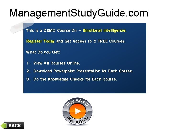 Management. Study. Guide. com This is a DEMO Course On – Emotional Intelligence. Register