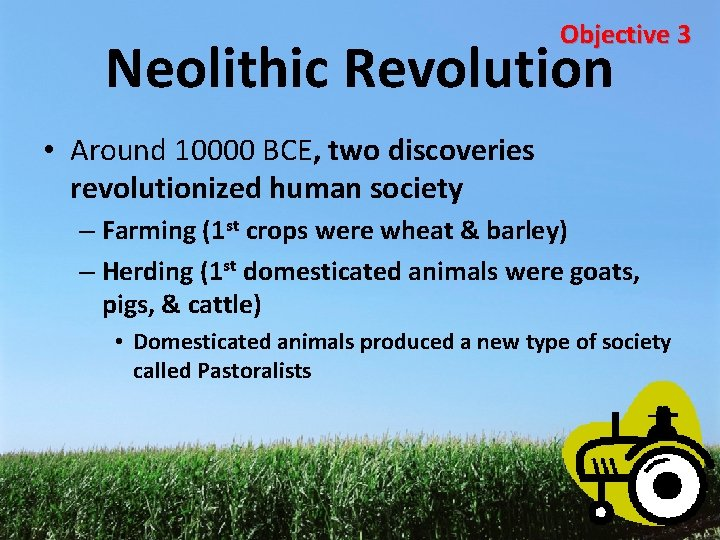 Objective 3 Neolithic Revolution • Around 10000 BCE, two discoveries revolutionized human society –