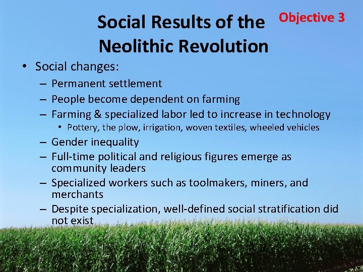 Social Results of the Neolithic Revolution Objective 3 • Social changes: – Permanent settlement