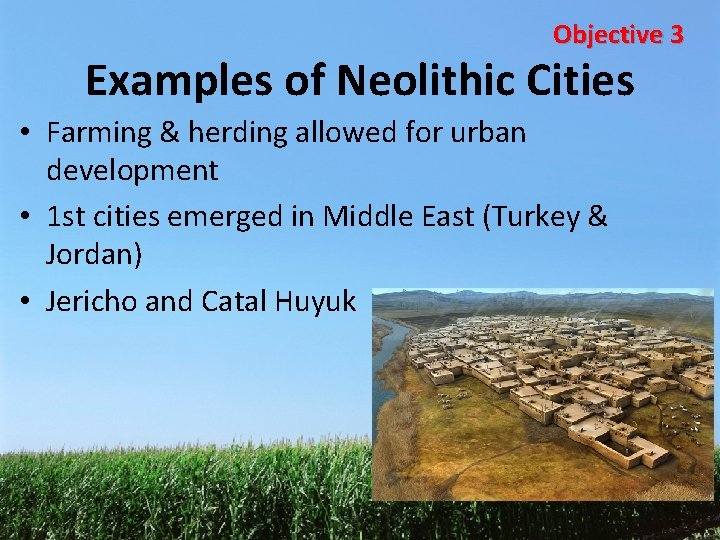 Objective 3 Examples of Neolithic Cities • Farming & herding allowed for urban development