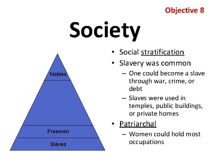 Society Objective 8 • Social stratification • Slavery was common Nobles Freemen Slaves –