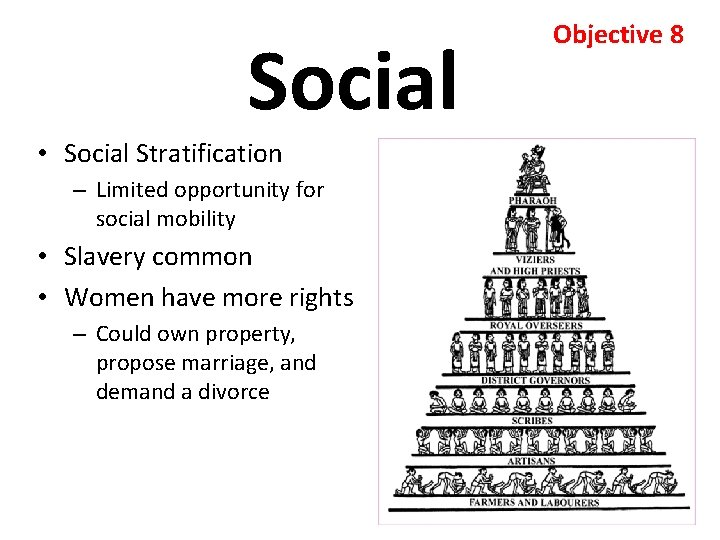 Social • Social Stratification – Limited opportunity for social mobility • Slavery common •