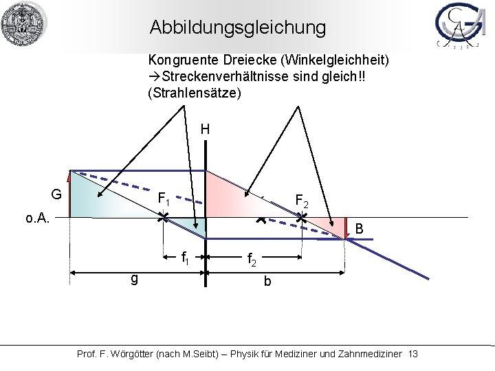 Abbildungsgleichung Kongruente Dreiecke (Winkelgleichheit) Streckenverhältnisse sind gleich!! (Strahlensätze) H G F 1 K o.