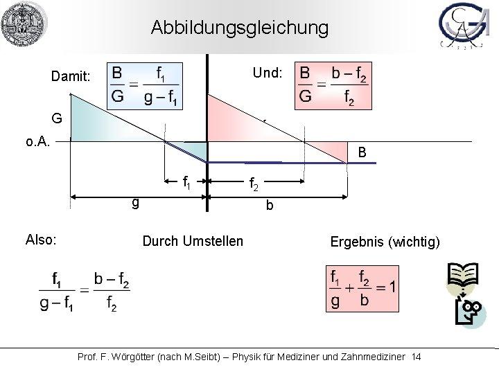 Abbildungsgleichung Und: Damit: G K o. A. B f 1 g Also: f 2