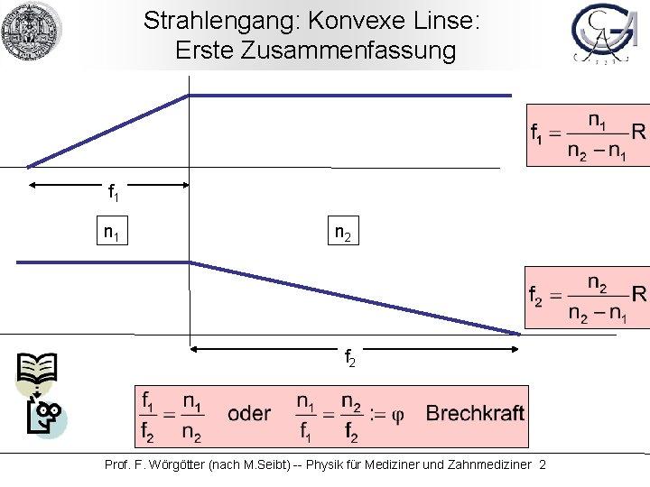 Strahlengang: Konvexe Linse: Erste Zusammenfassung f 1 n 2 f 2 Prof. F. Wörgötter