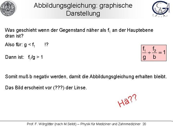 Abbildungsgleichung: graphische Darstellung Was geschieht wenn der Gegenstand näher als f 1 an der