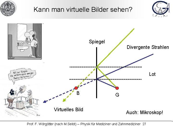 Kann man virtuelle Bilder sehen? Spiegel Divergente Strahlen Lot B Virtuelles Bild G Auch: