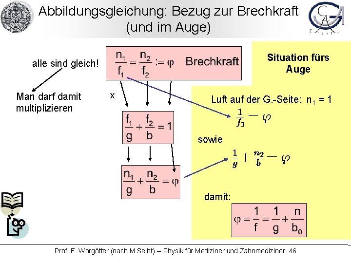 Abbildungsgleichung: Bezug zur Brechkraft (und im Auge) Situation fürs Auge alle sind gleich! Man