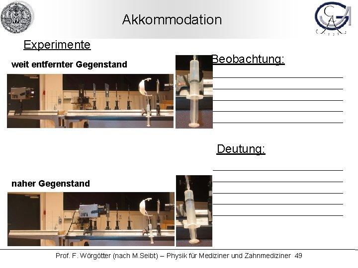 Akkommodation Experimente weit entfernter Gegenstand Beobachtung: Deutung: naher Gegenstand Prof. F. Wörgötter (nach M.