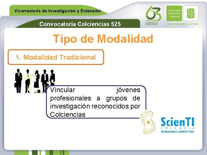 Vicerrectoría de Investigación y Extensión Convocatoria Colciencias 525 Tipo de Modalidad 1. Modalidad Tradicional
