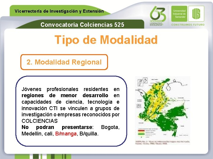 Vicerrectoría de Investigación y Extensión Convocatoria Colciencias 525 Tipo de Modalidad 2. Modalidad Regional